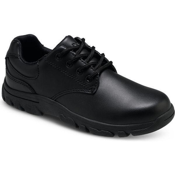 Hush Puppies Chad Black Leather Uniform Shoes - ShoeKid Canada