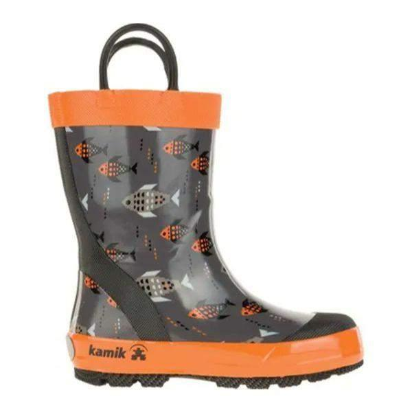 Kamik FISHRIDE Charc/Orange Boys Toddler Kids Rain Boot