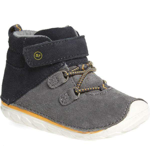 Boys First Walking Shoes - Stride Rite Leather Suede OLIVER Gray / Fits Narrow
