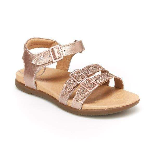 Stride Rite Alaya Rose Gold Leather Girls Sandals (Faux Buckle)