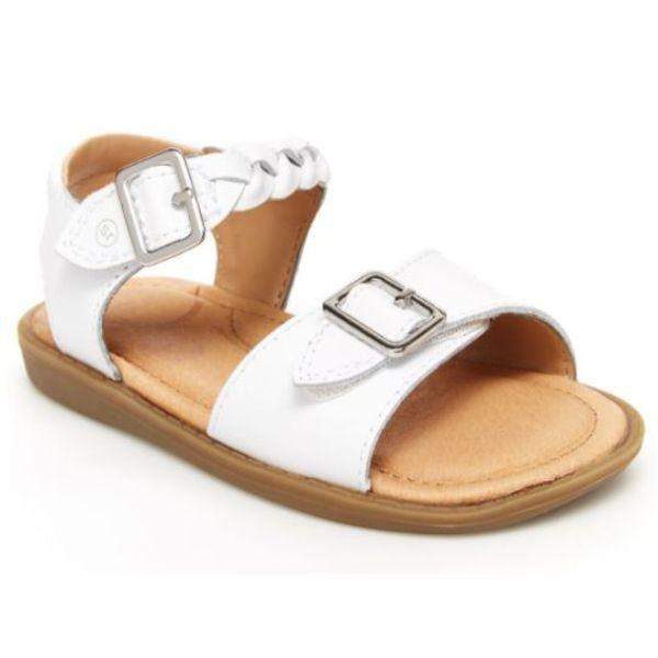 Stride Rite Naomi White Toddler Dress Leather Sandals (Faux Buckle)