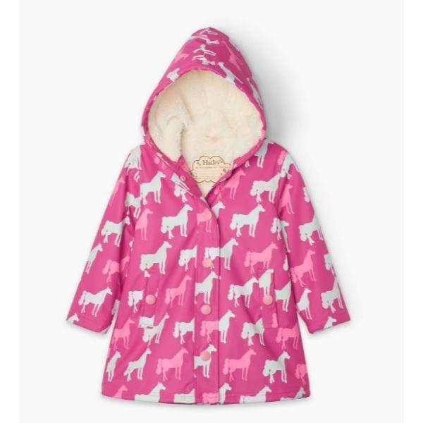 Hatley Horse Silhouettes Sherpa Lined Colour Changing Rain Coat