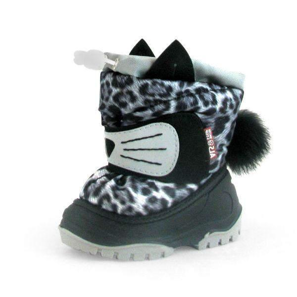 Alisa Kids Olaf Gray Leopard Baby Toddler Winter Boots (Made in Europe) -25C