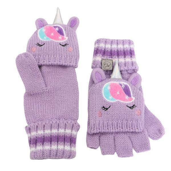 Flapjacks Knitted Fingerless Gloves w/Flap Unicorn