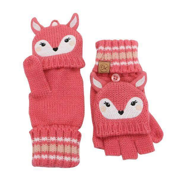 Flapjacks Knitted Fingerless Gloves w/Flap Deer