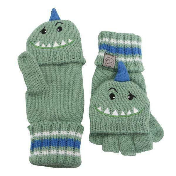 Flapjacks Knitted Fingerless Gloves w/Flap Dino