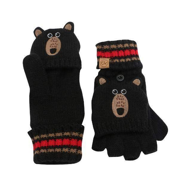 Flapjacks Knitted Fingerless Gloves w/Flap Black Bear