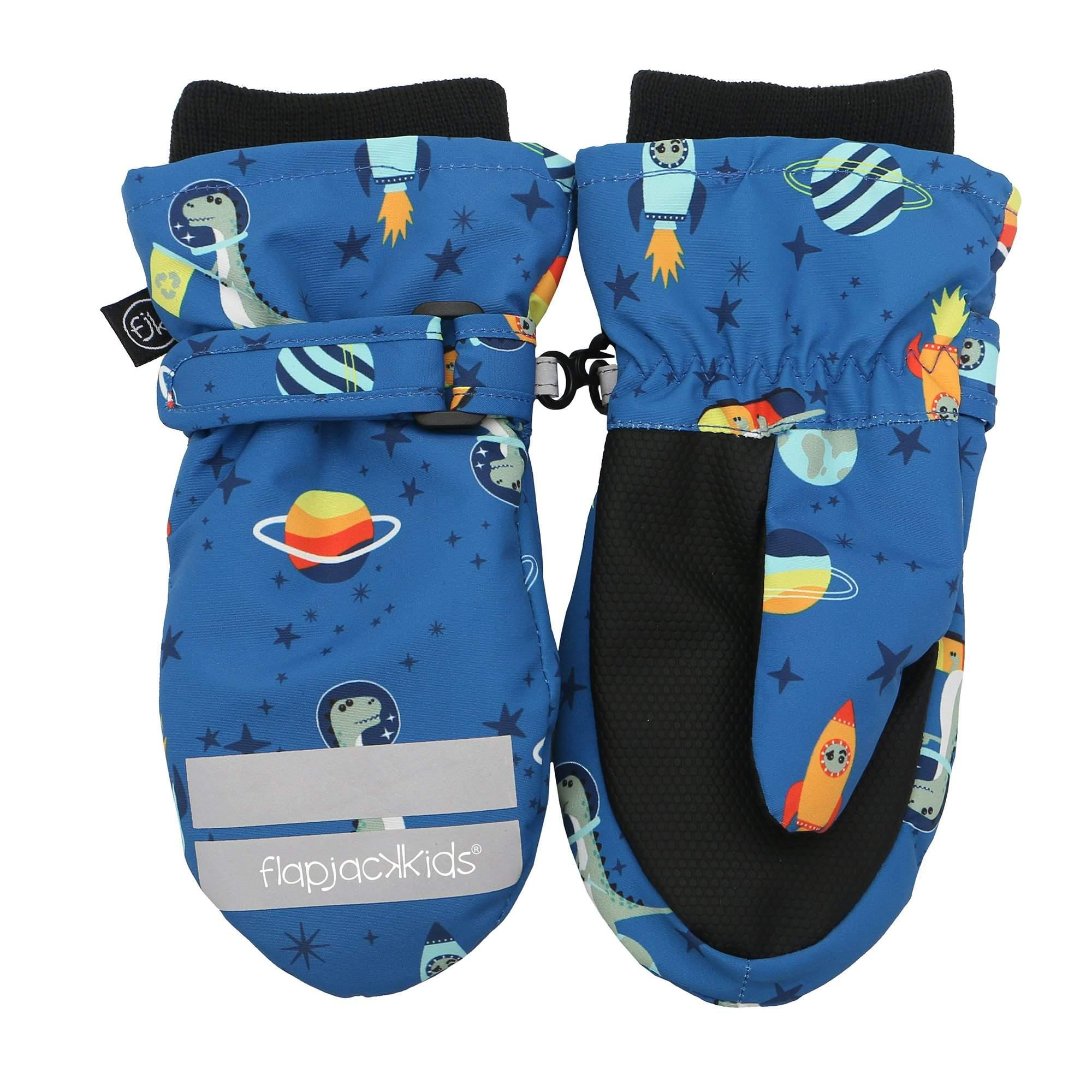 Flapjacks Water Repellent Ski Mittens Dino Blue