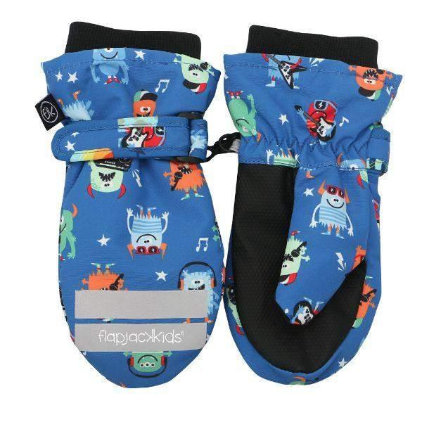Flapjacks Water Repellent Ski Mittens Monsters Blue