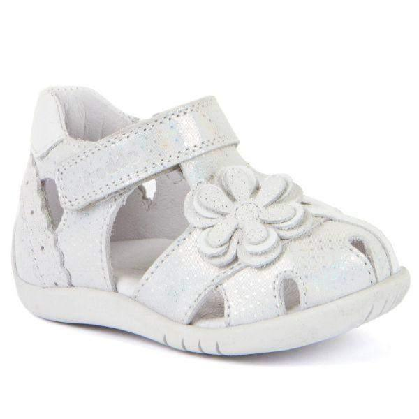 Froddo G2150140-1 Toddler White Glitter Leather Girls Sandals