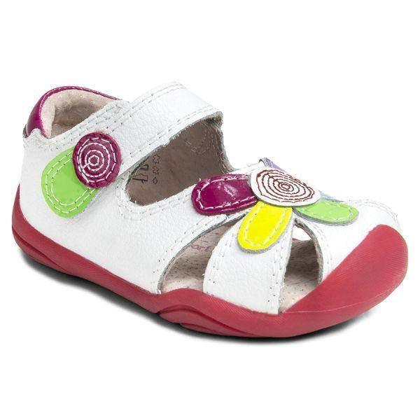 Pediped Daisy White Grip and Go Girls Toddler Sandals