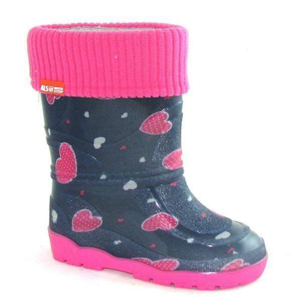 Alisa Kids Rainboot Hearts with Removable Insulation (Made in Europe)-5C