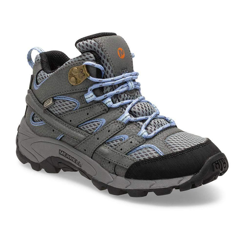 Merrell/MK162260/Moab 2 Mid Waterproof/Gray/Girls Hike/Big Kid