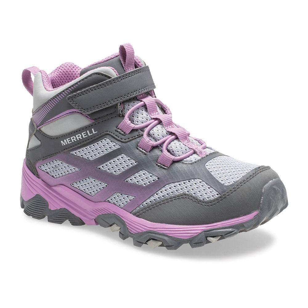 Merrell/MK162578/Moab Mid Waterproof/Gray/Girls Hike/Big Kid