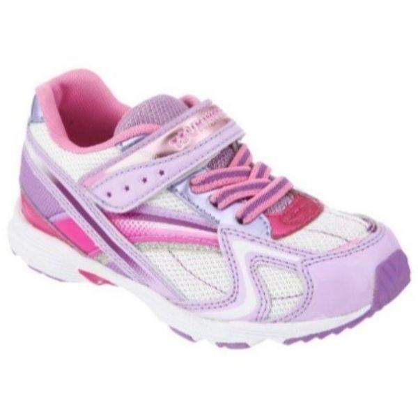 Tsukihoshi Glitz Lavender White Girls Running Shoes (Machine Washable) - ShoeKid.ca