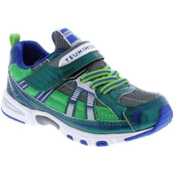 Tsukihoshi Storm Green Gray Boys Running Shoes (Machine Washable) - ShoeKid.ca