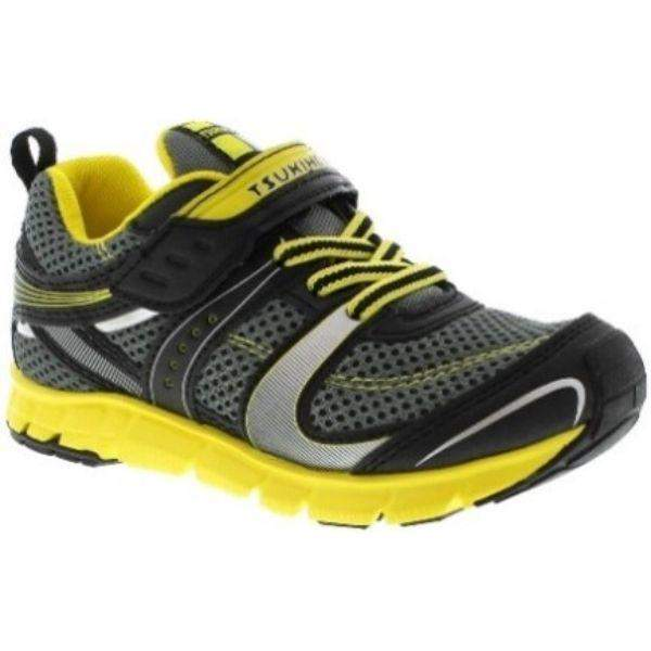 Tsukihoshi Velocity Black Yellow Boys Running Shoes (Machine Washable) - ShoeKid.ca
