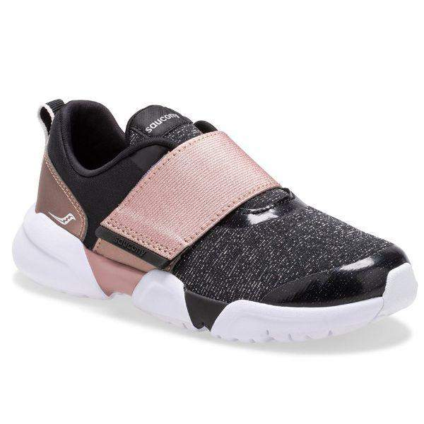Saucony Vertex Girls Running Shoes (Rose Gold Velcro Strap)