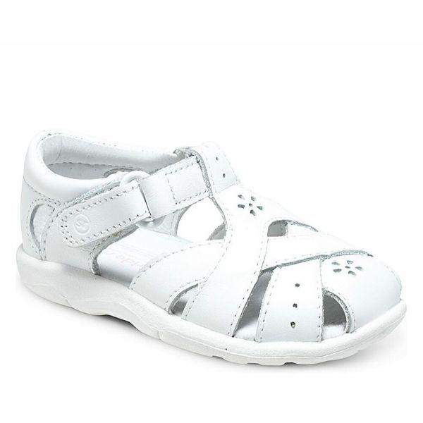 Stride Rite Tulip White Leather Girls Sandals