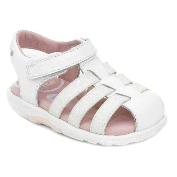 Stride Rite Luna White Toddler Leather Sandals