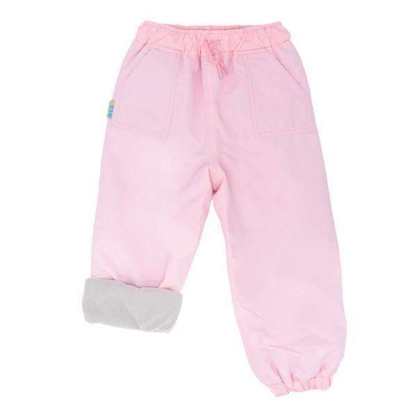 Fleece Lined Kids Rain Pants Milk Pink 100% Waterproof & Warm