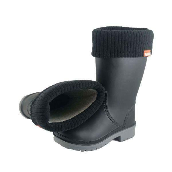 Alisa Kids Lightweight Rainboots Black with Removable Insulation -5C