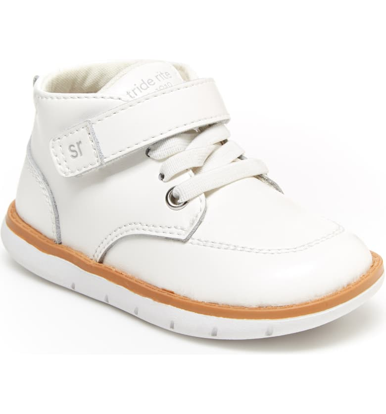Stride Rite Quinn White Toddler Leather Boots