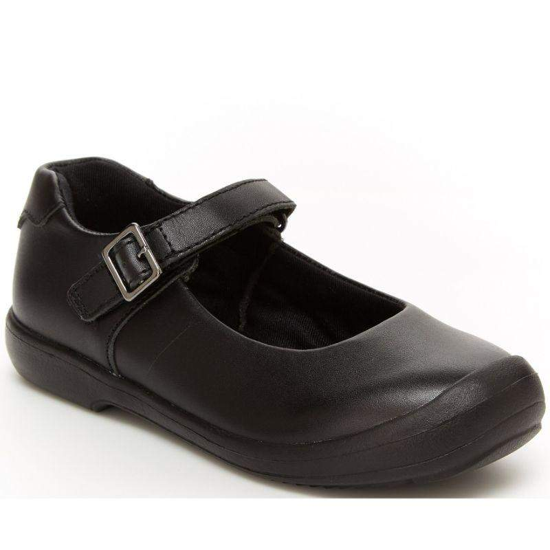 Stride Rite Ainsely Girls Leather Black Uniform School Shoes (Velcro/Fake Buckle)