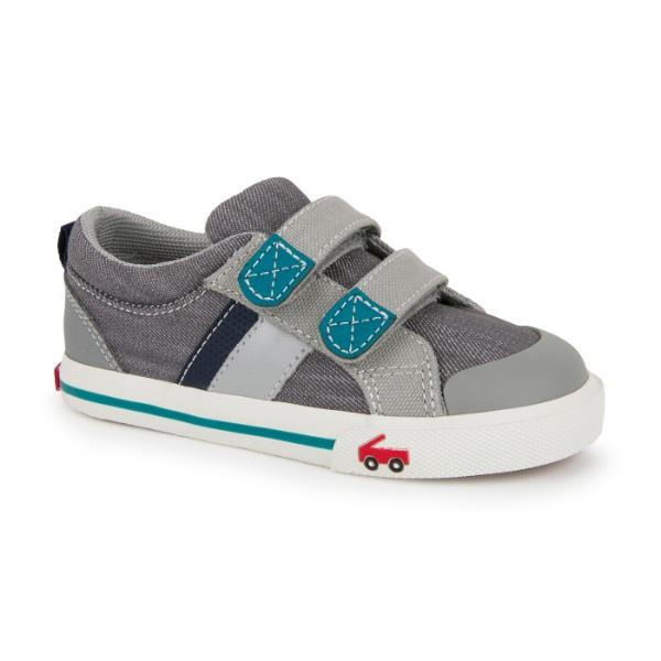 See Kai Run Boy's Russell Sneaker, Gray/Teal - ShoeKid Canada