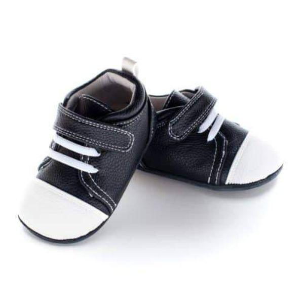 Boys First Walking Shoes - Jack & Lily Seby Lace Black And White