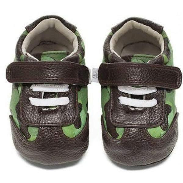 Boys First Walking Shoes - Jack & Lily WYATT Camo Brown/Green