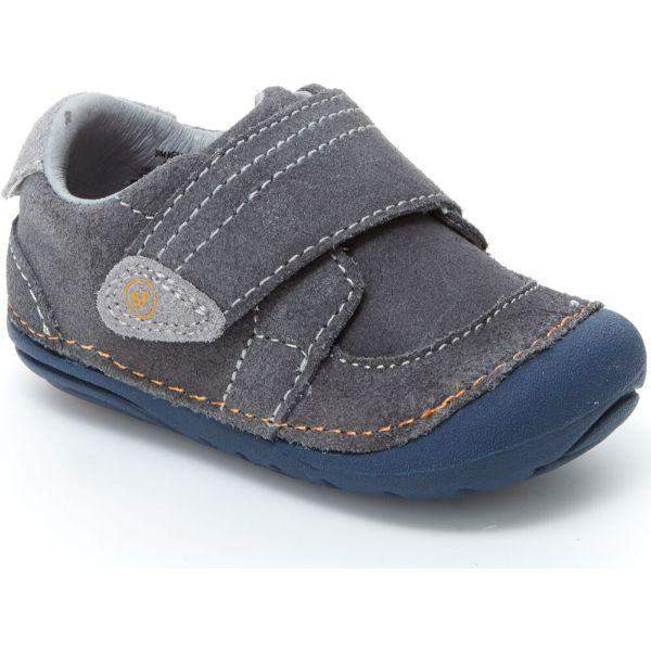 Boys First Walking Shoes - Stride Rite Kellen Gray  Infant/Toddler Leather Sneaker