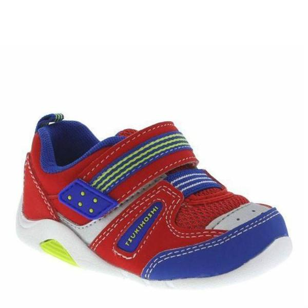 Boys First Walking Shoes - Tsukihoshi BABY02 Neko Red Royal /Infant / Toddler / Machine Washable