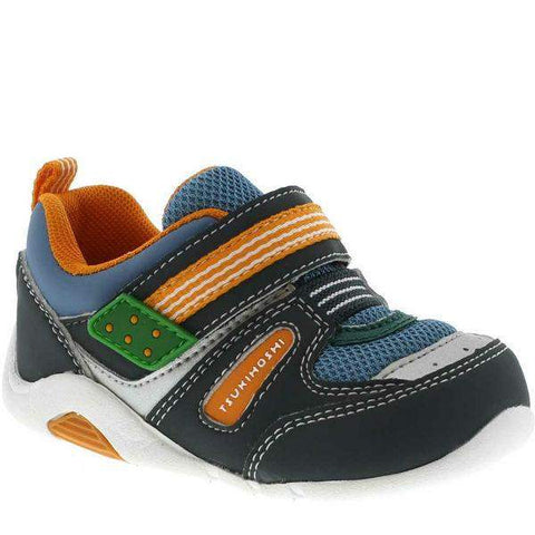Boys First Walking Shoes - Tsukihoshi BABY02  Neko Sneaker Infant/Toddler  /Machine Washable/ Charcoal Sea