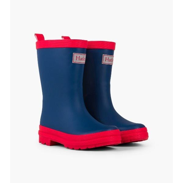 Hatley Navy & Red Kids Rain Boots