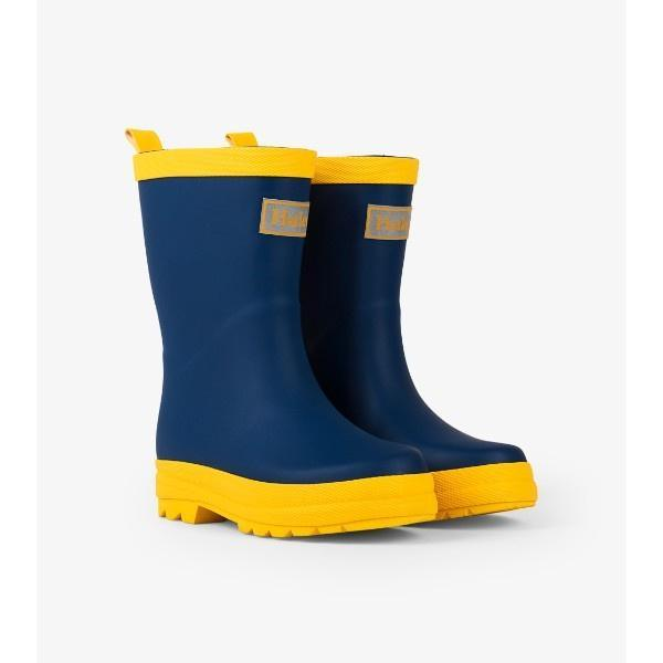 Hatley Navy & Yellow Kids Boys Rain Boots