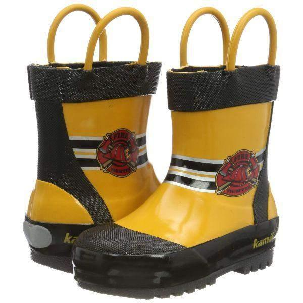 Kamik Kids Yellow Fireman Boys Toddler Rain Boot