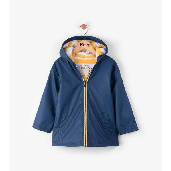 Hatley Navy & Yellow Kids Raincoat / 100% Waterproof - shoekid.ca