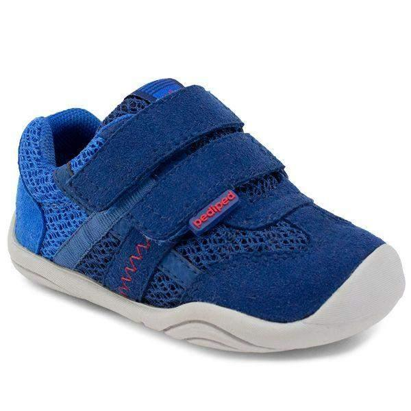 Pediped Gehrig Blue Navy Grip and Go Toddler Shoes (Machine Washable) - ShoeKid.ca
