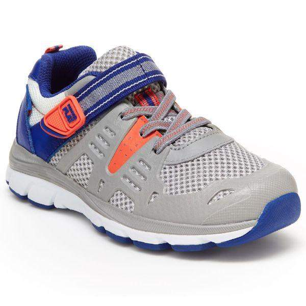 Boys Running Shoes - Stride Rite Ashton Gray Blue Boys Running Shoes (Machine Washable)