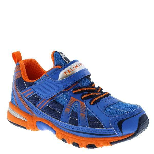 Tsukihoshi Storm Blue Orange Boys Running Shoes (Machine Washable) - ShoeKid.ca