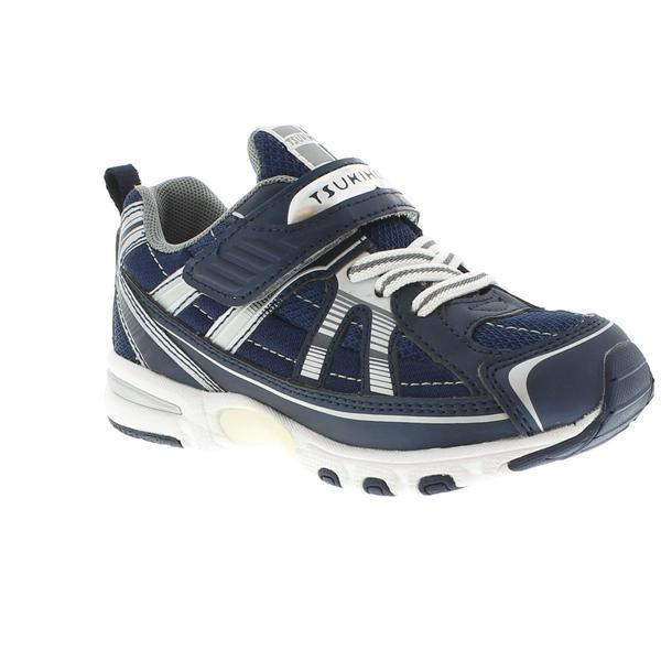 Tsukihoshi Storm Navy Silver Boys Running Shoes (Machine Washable)