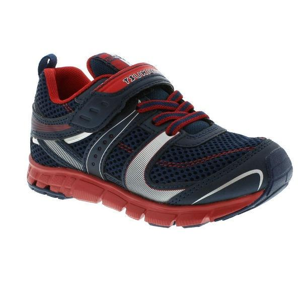 Boys Running Shoes - Tsukihoshi VELOCITY / Little Kids/Big Kid / Machine Washable / Navy Red