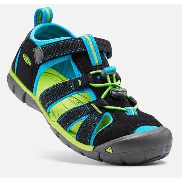 Boys Sandals - KEEN Kids Seacamp II CNX Sandal, Black/Brilliant Blue