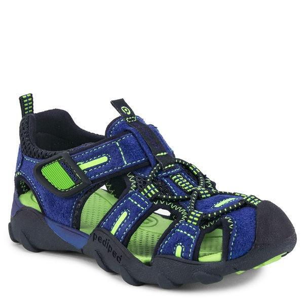 Boys Sandals - Pediped Canyon Blue Lime / Water Friendly / Little Kids / Youth / Machine Washable