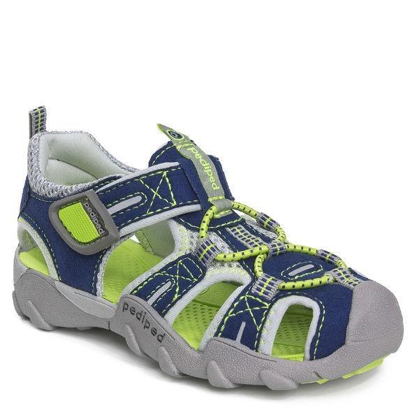 Boys Sandals - Pediped Canyon Navy Lime / Water Friendly / Little Kids / Youth / Machine Washable