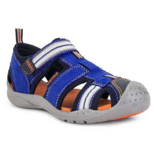 Boys Sandals - Pediped Sahara Blue Orange / Toddler / Little Kids / Machine Washable