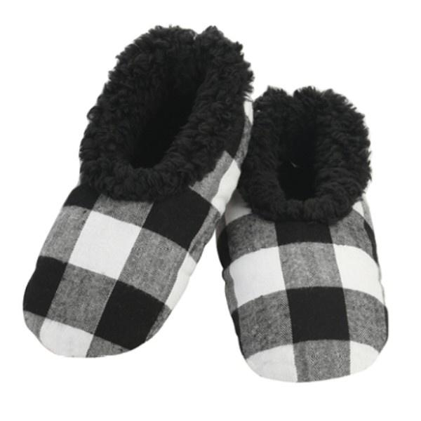 Boys Slippers - Snoozies Black Plaid Indoor Slippers / Big Kids / Youth