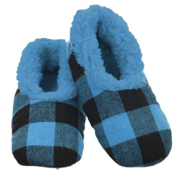 Boys Slippers - Snoozies Blue Plaid Indoor Slippers / Big Kids / Youth
