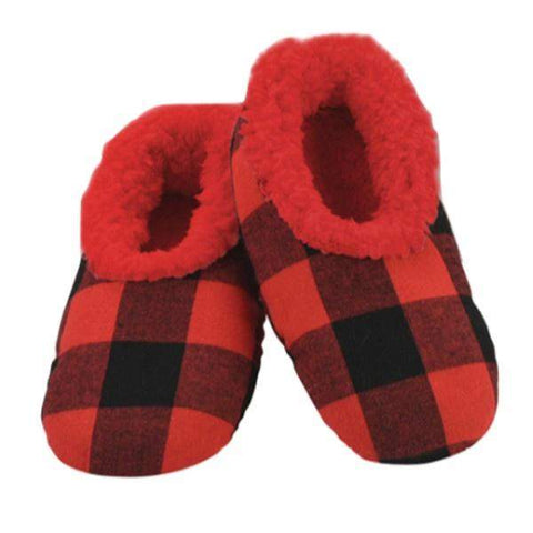 Boys Slippers - Snoozies Red Plaid Indoor Slippers / Big Kids / Youth